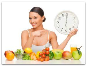 Женщина с часами и фруктами